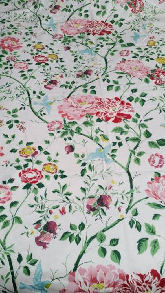 By The Yard 1960s Vintage Cohama Ming Upholstery Fabric Cabbage