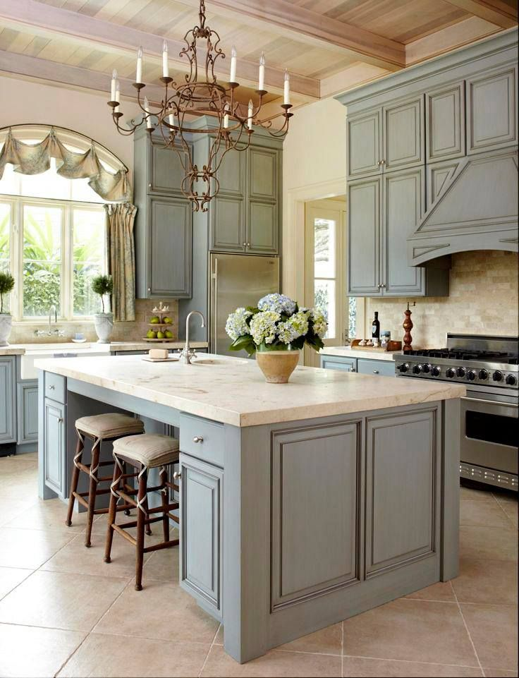 French Country Kitchen Beautiful Paint Color On The Cabinetry I Love Light Fixture And Design Of Like This