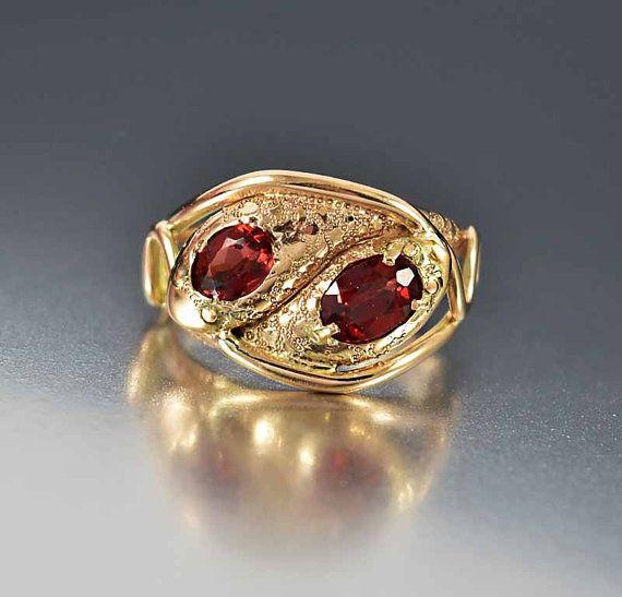 1er pago serpiente oro rosa granate Vintage anillo, granate anillo, anillo de Ouroboros, antiguo anillo oro, anillo de serpiente, amor anillo de eternidad