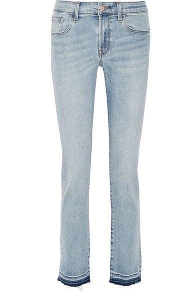 J Brand - Amelia Frayed Mid-rise Slim-leg Jeans - Light denim - 28