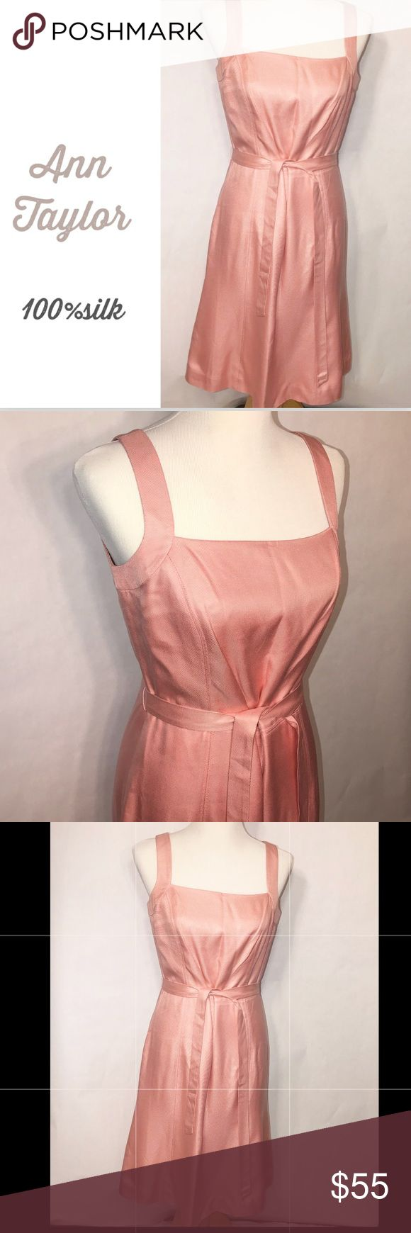 Ann Taylor woven silk pastel dress size 6 Excellent used condition  Woven 100% silk dress Fully lined Freshly dry cleaned  Sleeveless  Waist tie Built in bra strap holder Zipper & eyehook good working order No stains. I see one very small snag on back of dress shown in pic #8 but not noticeable.  Coral-pink pastel color  Perfect for spring parties, Easter, christening, etc  Open to reasonable offers 🛍🛍💕 Ann Taylor Dresses Midi