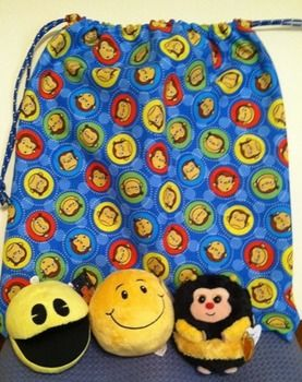 "Bright, Colorful, Durable hand sewn drawstring bag nestles smiles, warm and fuzzy smiley faces, and more. This bag provides hours of entertainment as children and adults read: ""Gus Gets Mad"" ""The Happy Bee"" ""Get Happy"" ""Alexander and the Terrible, Horrible, No Good, Very Bad Day"".After reading children and adults alike can play ""Tic- Tac-Smile"" on the laminated reusable tic-tac-toe board using the laminated pieces which are large smiley faces."