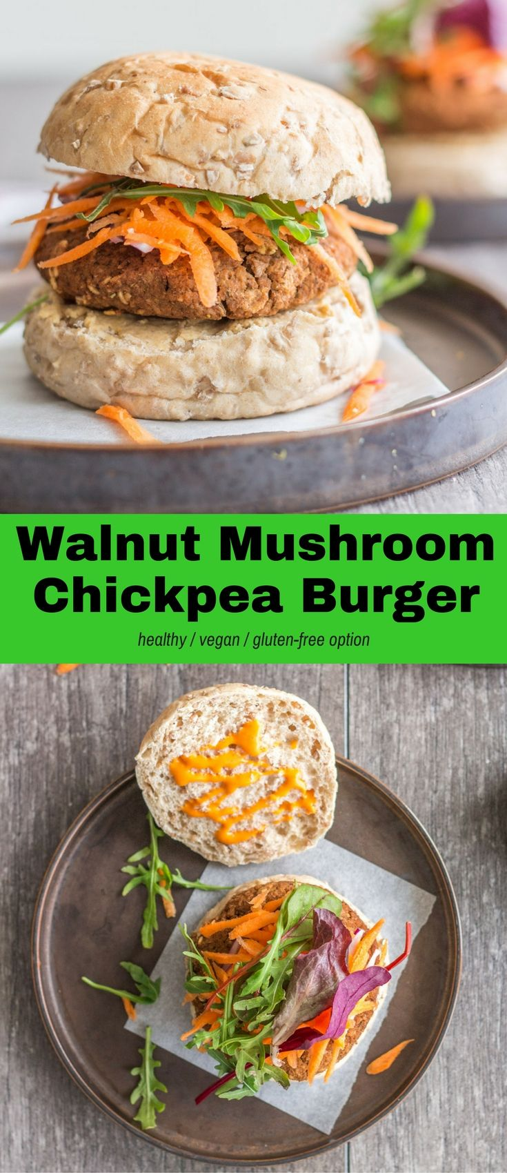 These Walnut Mushroom Chickpea Burgers are easy to make, super healthy, packed full of flavour, and delicious. 11 basic ingredients, vegan, and gluten-free option. #vegan #glutenfree #plantbased #recipes #healthy