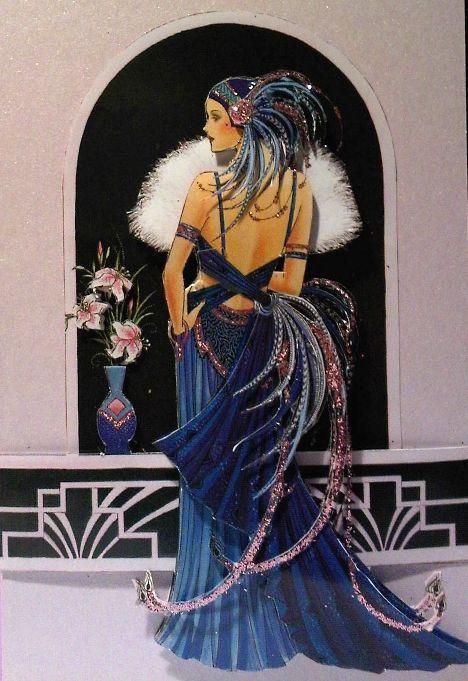 Art deco and art nouveau woman belly dancing image