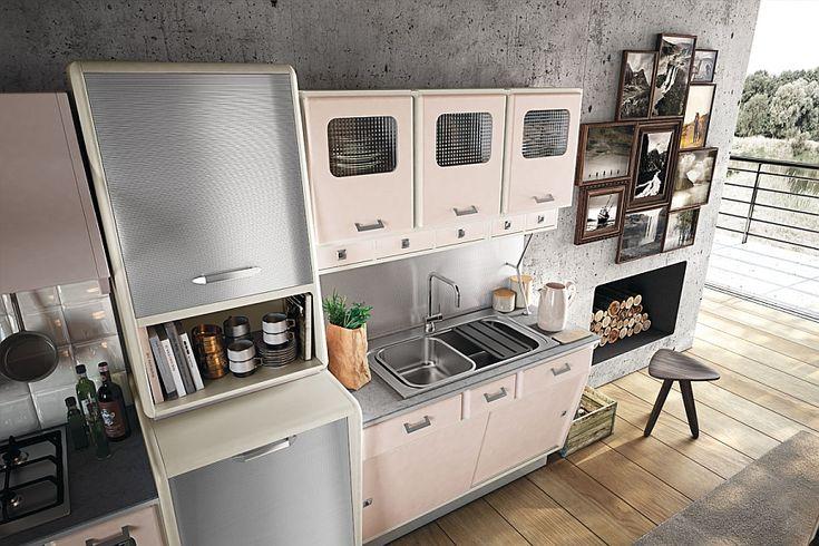 Retro style kitchen cabinets with a metallic finish #LGLimitlessDesign #Contest