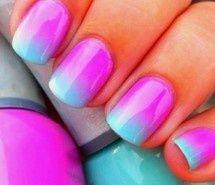 Nageldesign Ombre - Nailart Pink Blau