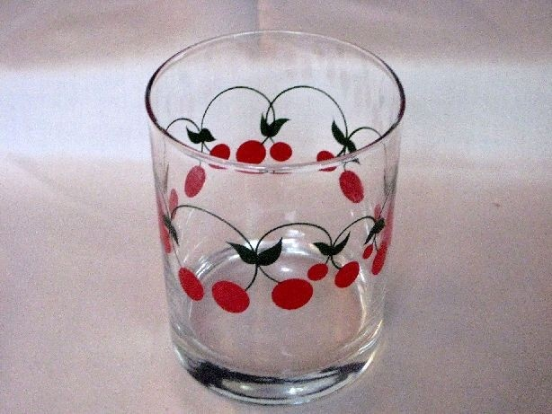 Retro Red Cherries Drinking Clear Glass Flat Tumbler Vtg Cherry Kitchen Decor | eBay