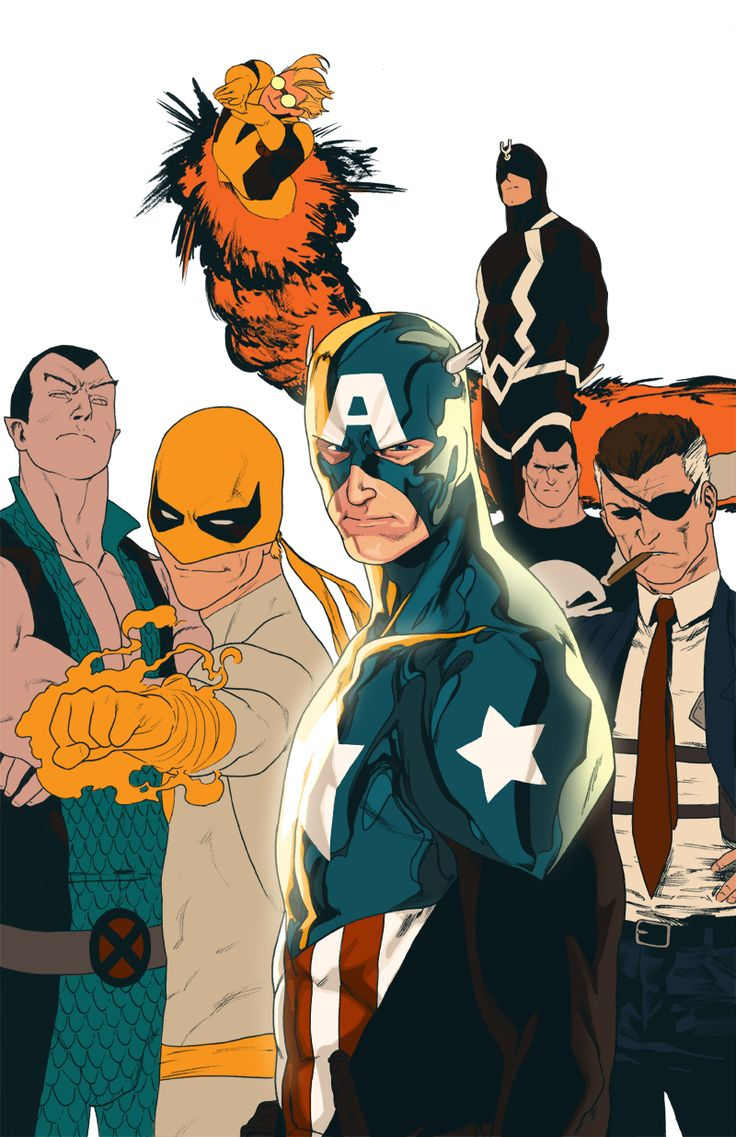 Namor, Iron Fist, Cannonball, Captain America, Black Bolt, The Punisher & Nick Fury