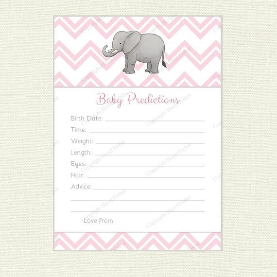 Elephant Baby Prediction Card printable baby shower game by hfcSupplies on Etsy.  Features an elephant on pastel pink chevron design, with space for you to write your predictions of when the baby will be born, their weight, length, eye and hair colour. (Mint and blue colour schemes are also available).