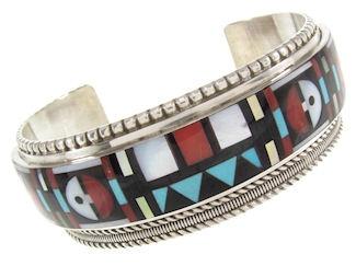 Native American Multicolor Inlay Sun Cuff Bracelet GS57658