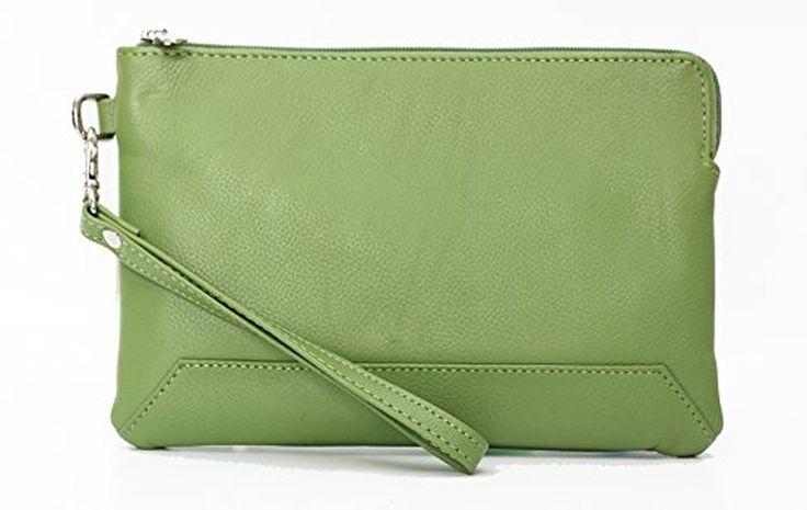 Ashlin Genuine Leather Medium Wristlet, Lime Green