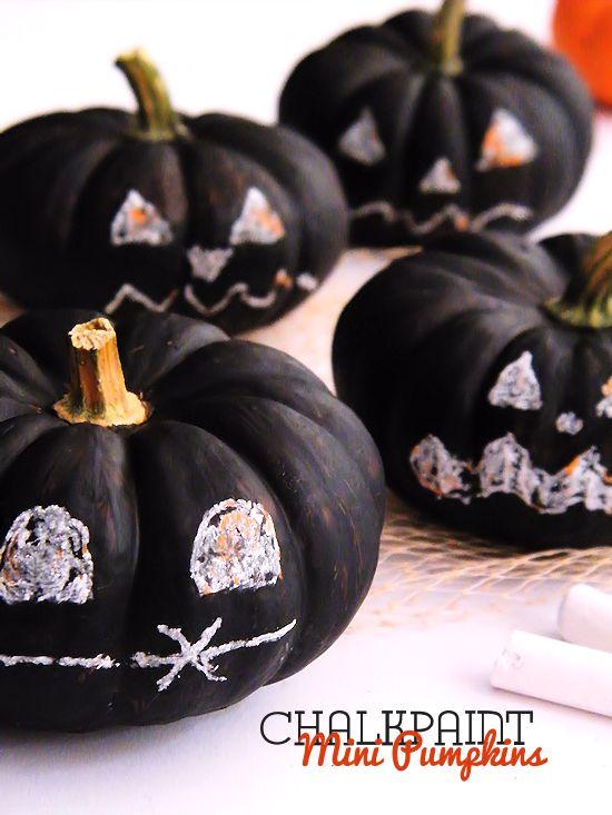 chalkpaint mini pumpkins halloween decoration kids craft
