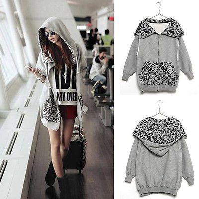 Hot-Long-Sleeve-Zip-Coat-Leopard-Hoodie-Tops-Fleece-Jacket-Batwing-Sweatshirt
