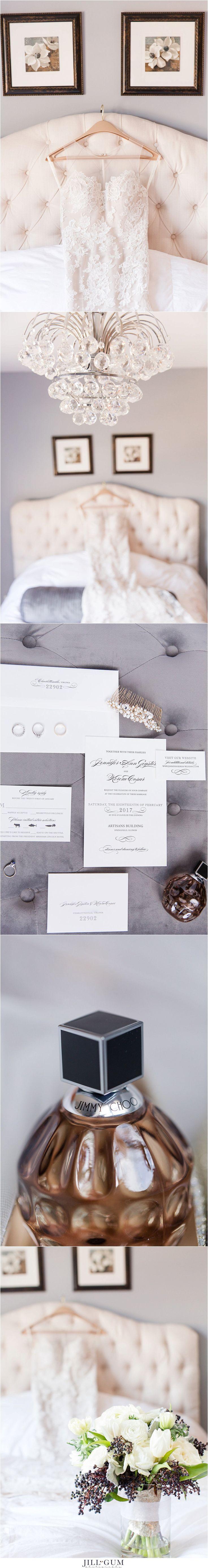 Jill Gum Photography | February Wedding | Springfield IL | Anna Maier Wedding Dress | Nordstrom Michigan Avenue Dress | Lace Wedding Gown | Wedding Bouquet | Elegant Wedding | Simple Wedding |