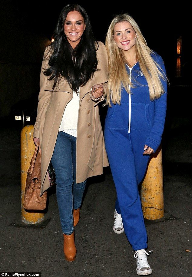 Nicola McLean puts on a brave face as she heads for girls' night out...in a ONESIE with Geordie Shore's Vicky Pattison