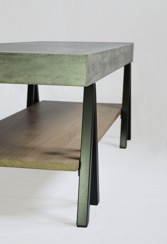 """Table basse """"Archiblack"""". Plateau en béton fibré, tablette en chêne, piétement tréteaux, WHAT ELSE! www.m-trend.fr M'trend - Luminaire et mobilier"""