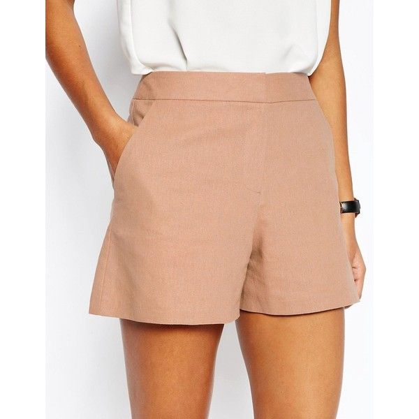 ASOS Tailored A-Line Short in Linen ($14) ❤ liked on Polyvore featuring shorts, linen shorts, asos shorts, tall shorts, a-line shorts and mid rise shorts