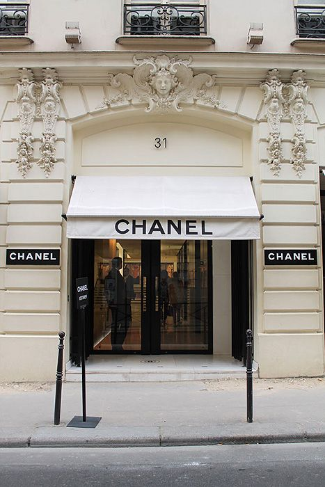 Chanel store, 31 Rue Cambon, Paris. Such magnificent and ornate detail to stone facade.