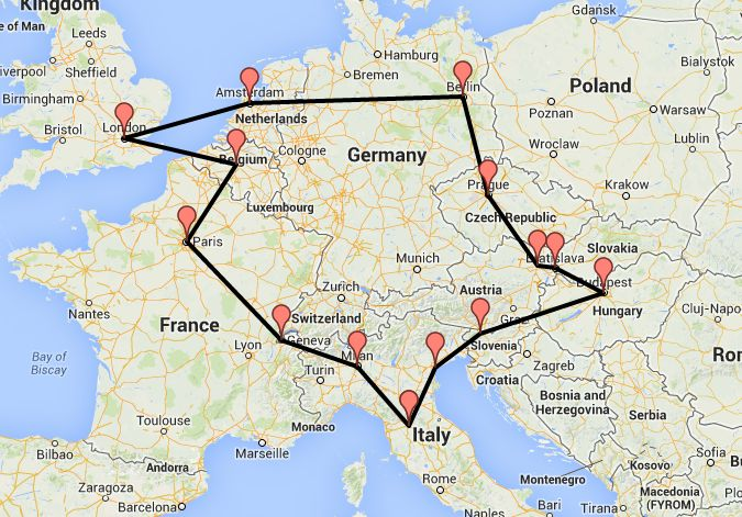 Our Interrail route for summer 2014! :)  London - Brussels - Paris - Geneva - Milan - Florence - Venice - Bled - Budapest - Bratislava - Vienna - Prague - Berlin - Amsterdam - London