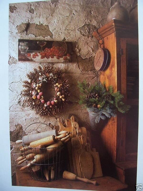 Primitive vignette, rolling pins, wreath. Beautiful photo.