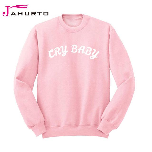 Jahurto Cry Baby Graffiti Letters Styles Print Unisex Clothes Cool Pullover Crewneck Streetwear Sweatshirt Joggers Women Hoodies