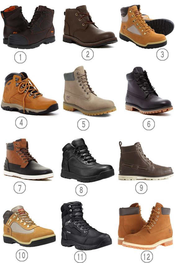 1. Timberland 6 inch Storm Force   2. Timberland Larchmont Chukka Boot  3. Timberland Nubuck Field Boots 4. Timberland Thorton  5. Timberland Autumn Mashup'   6. Timberland 6″ Premium   7. Aldo Euchariste Mid 8. Timberland Field Guide  9. Sperry Authentic Original Lug Boot  10.  Timberland Field Boot Fabric and Leather  11. Timberland Guy'd 8″ Warm Lined  12. Timberland Classic 6″ Premium Boot 12 pairs of waterproof …