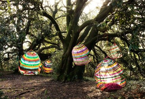 Vivid woven cocoon chairs hanging from a lovely big tree. I would love one of these in my backyard. More than one if I had the room!Defaulting, Chairs Swings, Colors Furniture, Patricia Urquiola, Minis Gardens, Hanging Chairs, Gardens Parties, Tropicalia Cocoon, Design