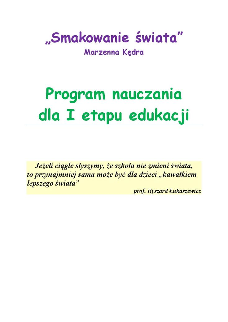 Smakowanie swiata program nauczania dla i etapu edukacji