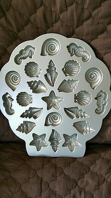 NordicWare Bundt TEA CAKES & CANDIES PAN 24 Mini Molds, SEASHELLS, STARFISH