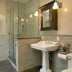 Master ensuite: Bathroom Design, Slate Tile Floors, Gorgeous Bathroom, Subway Tile, Tile Shower, Pedestal Sinks, Bathroomdesign, Medicine Cabinets, Bathroom Ideas