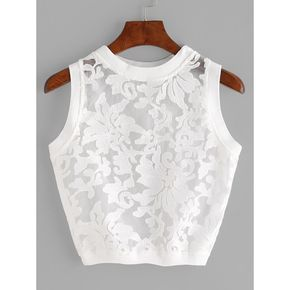 SheIn(sheinside) Organza Insert Crop Tank Top ($8) ❤ liked on Polyvore featuring tops, white, white crop tank top, white tank, white crop top, sexy tank tops and camisole tank top