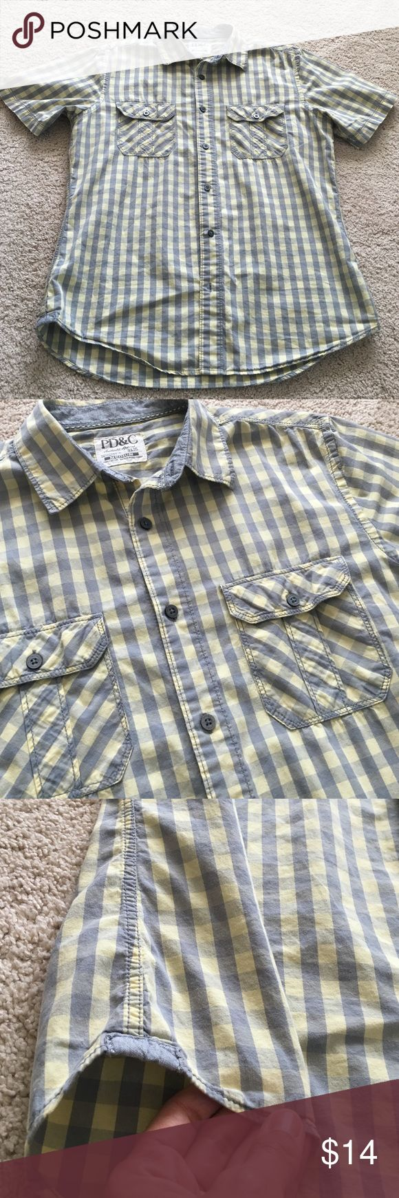 Men's Plaid Shirt Yellow and Grey cotton shirt. Good condition. PD&C Shirts Casual Button Down Shirts