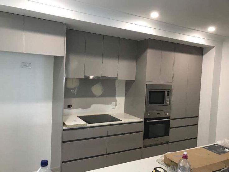 Another kitchen almost complete! www.brisbanekitchensolutions.com.au #greycabinetry #greykitchen #brisbanekitchensolutions #fingerpullcabinetry