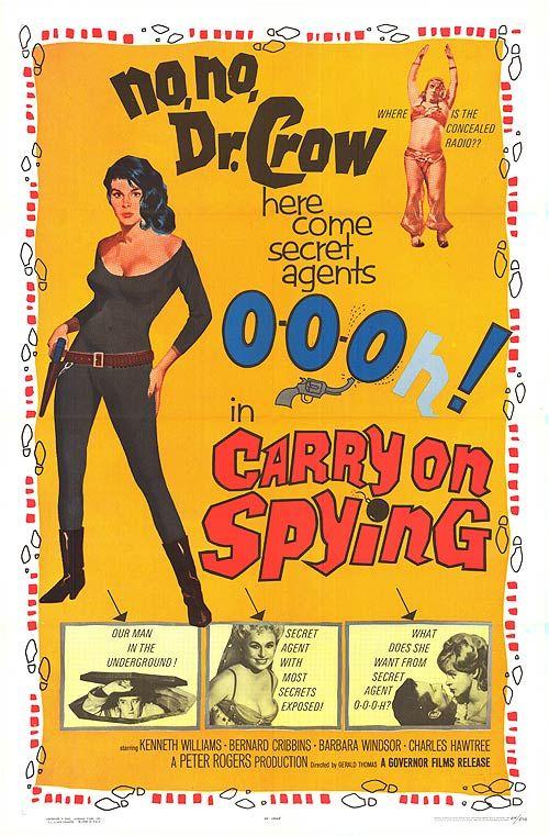 """Carry on Spying"" (1964) Stars: Kenneth Williams, Barbara Windsor, Bernard Cribbins, Charles Hawtrey"
