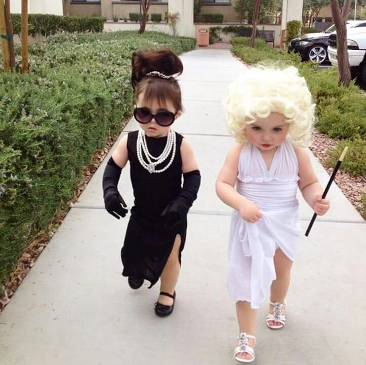 From: Kitchen Fun with My Three Sons.  Audrey Hepburn and Marilyn Monroe toddler outfits for Halloween.