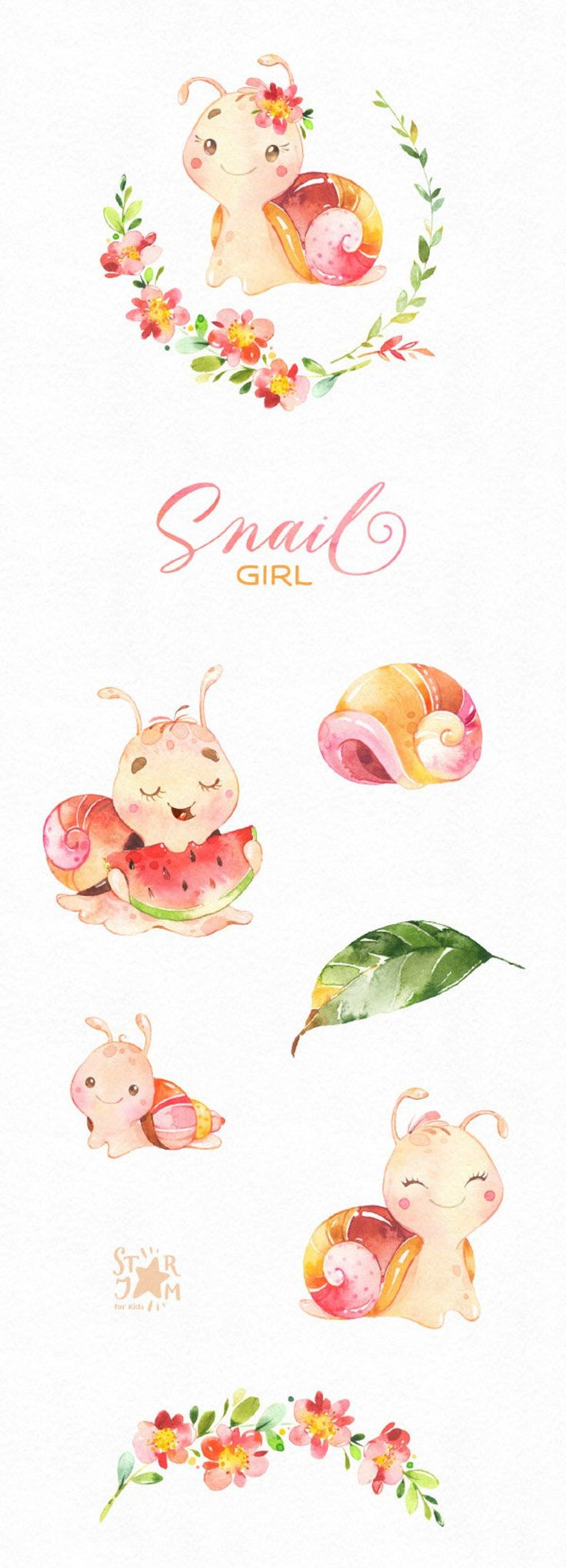 Snail Girl. Watercolor little animal clipart, baby, flowers, shell, cute, funny, pink, wreath, birth