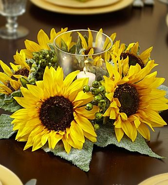 Sunflower Centerpiece Ideas Picnic Tables | Silk Sunflower and Berry Centerpiece