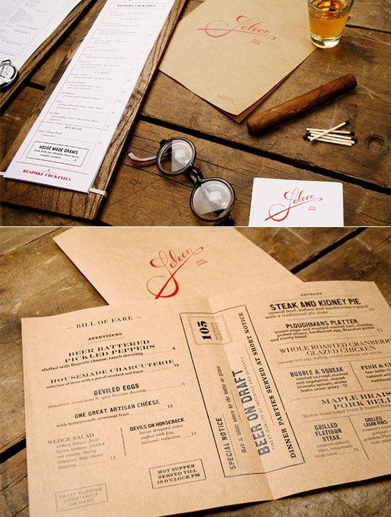 25 Inspiring Restaurant Menu Designs (Wooden Back Drink Menu & Menu on craft paper)