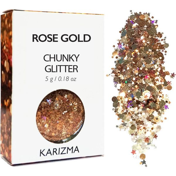 Rose Gold Chunky Glitter Face Body Nails Hair Festival Gems Beauty... ($6.80) ❤ liked on Polyvore featuring beauty products