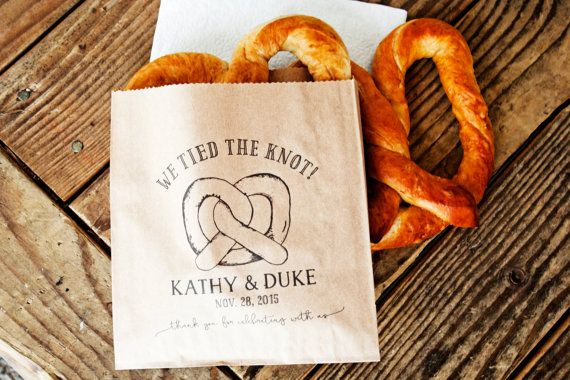 Pretzel Wedding Favor Bags  We Tied the Knot  Wedding by mavora