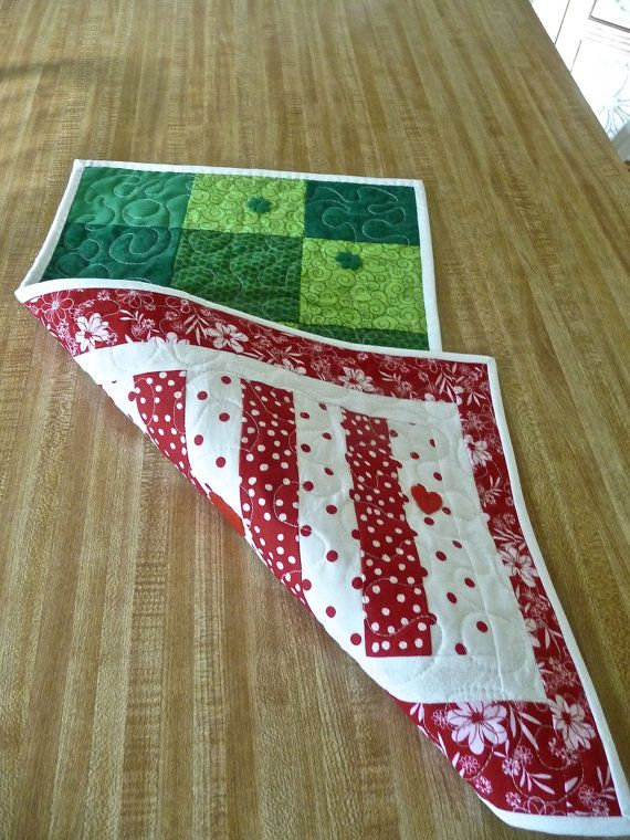 Valentine's Day and St Patrick's Day Table Runner by Covequilter