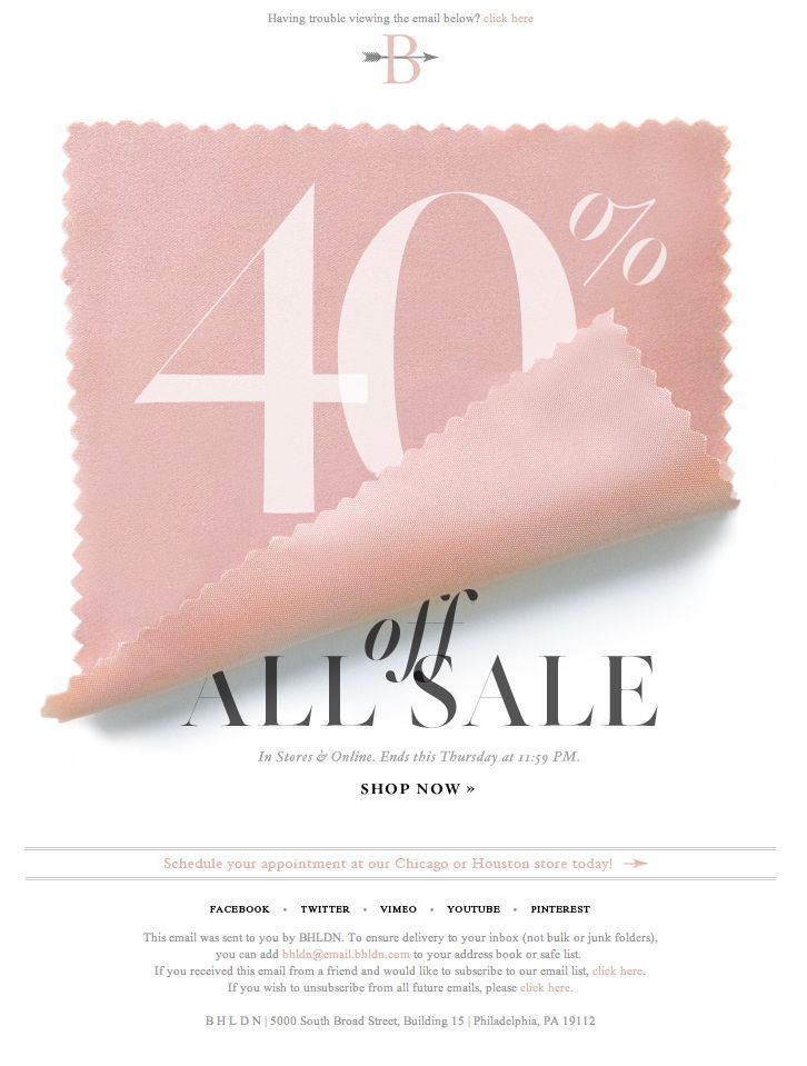 40% off sale - email design