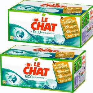 Le CHAT ECO-Efficacité is a detergent packed in many tablets which solve the dosage problem, even for a unfamiliar customer     The green colored packaging and the name of the product  aimed to express the importance for the company to respect environment.    The visual impact this packaging has on a purchasing decision is effective because it shows values that can be relevant for many consumers.for more information visit us at  www.coffeebags.co.za