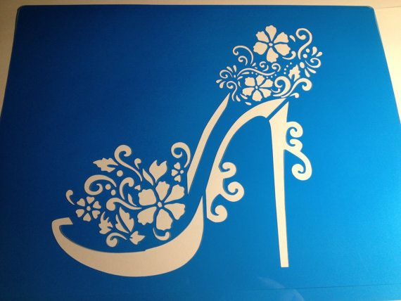 Floral High heel girly cake stencil topper  ! -  cake decorating stencils