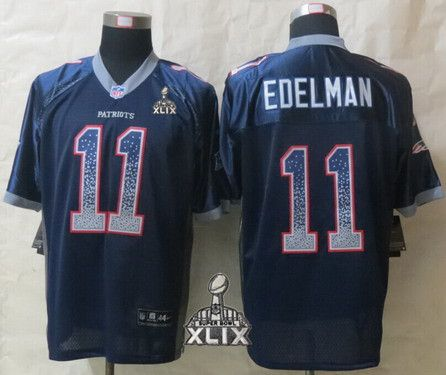 New England Patriots #11 Julian Edelman 2015 Super Bowl XLIX Drift Fashion  Blue Elite Jersey