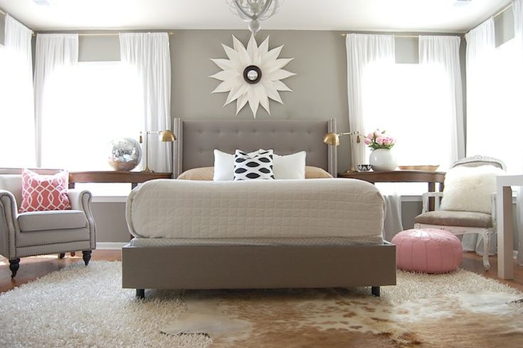 Gorgeous Gray And White Bedrooms: The Nester Glamorous Bedroom With Gray Walls Paint Color