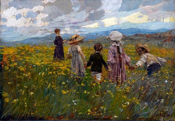 Ettore Tito - Prato in fiore (Bambini sull'altopiano di Asiago) (1901)