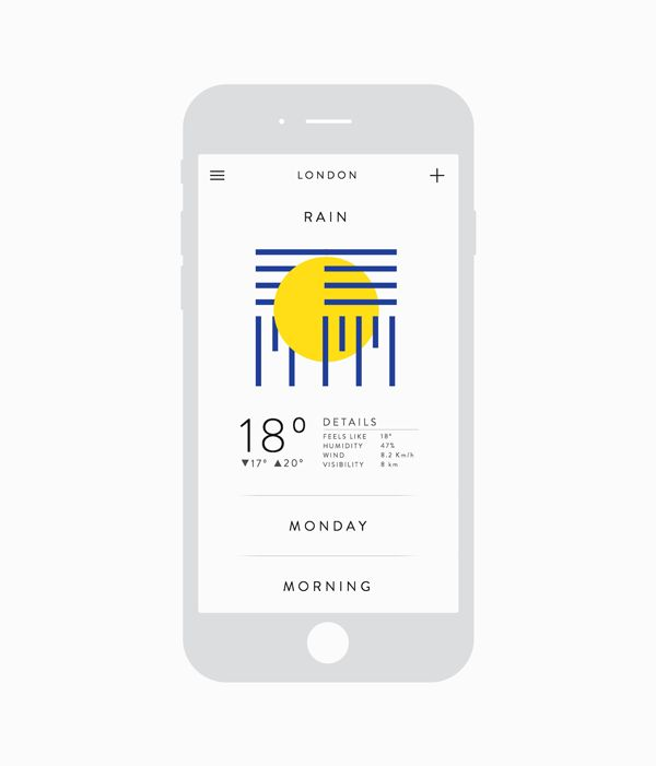 Gabriel Noza - Weather app https://www.behance.net/gallery/22645245/Weather-app
