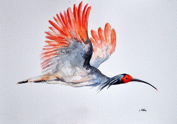 Aves acuarela ORIGINAL pintura Flying Garza 7 x por ArtCornerShop