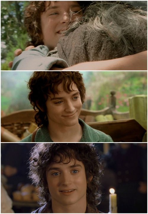 Frodo smiling, sad because it was rare...